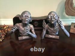 NOBLE Lord of the Rings GOLLUM & SMEAGOL Pewter Statue Bookends RARE Bust
